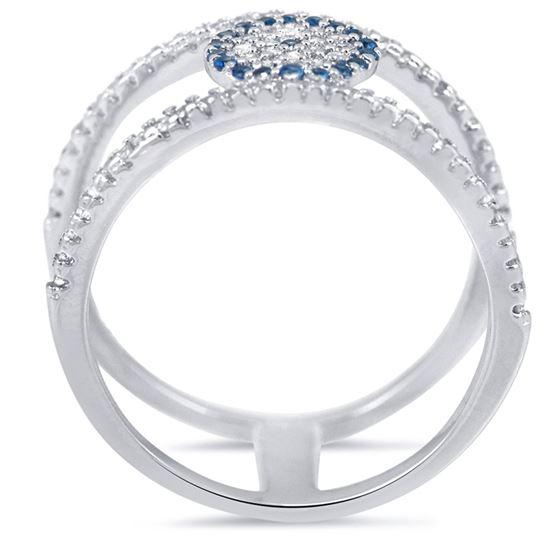 double bar silver evil eye fashion ring