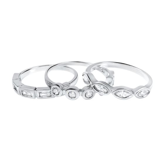 sterling silver stackable cz 3 piece ring set